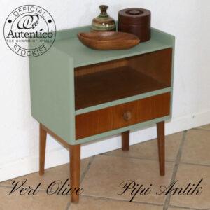 Teak natbord i Vert Olive med skuffe og rum L44xD29,5xH55cm