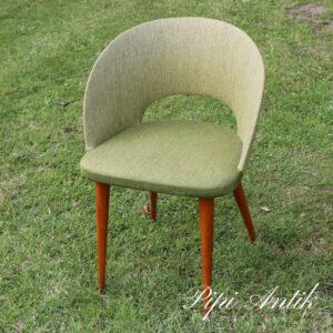 305 Retro stof armstol i slank version olivengrøn teak B48xD37xH68 sædet 37,5 cm