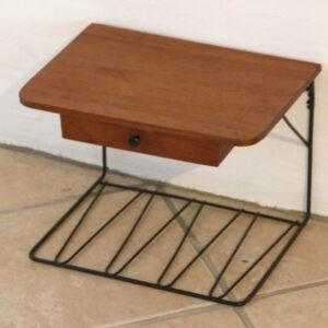 Teak natbord med string underhylde og skuffe L35xD23xH24,5 cm