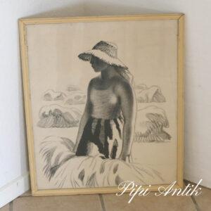 Åage Sikker Hansen billede af Høstpige Randers litnografi tykt papir circa 1955 B57,5xH68xD2 cm