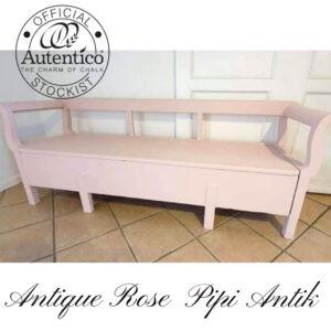 Antique Rose slagbænk Autentico kalkmaling L194xD51,5xH72 sædet 44 cm H