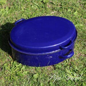 Blå stegeso emalje L45xB23xH12cm