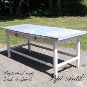 Slagterbord med 2 skuffer med zinkbordplade L201xB81xH81 cm