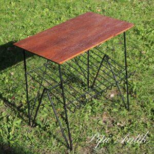 2379 Teak retro sofabord med avishylde i sort string L51,5xB31xH49cm