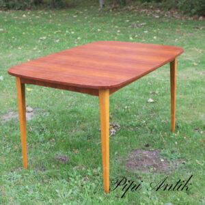02 Teak spisebord med bøgetræsben med 2 tillægsplader L125,5B84xH73 2 plader 24,5cm x 2