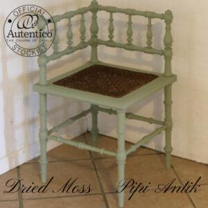 Romantisk hjørnestol i romantisk landestil i Dried Moss Autentico L40xB40xH73 sædet 45cm