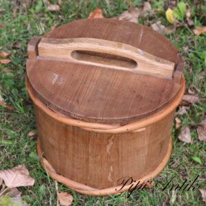 11 Træ spand med låg madbeholder i træ Ø23xH17cm