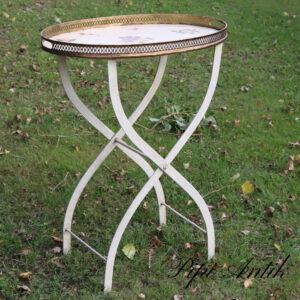 72 Metal bakkebord med aftagelig bakke romantisk råhvidt roser nyere L63xB42xH81cm