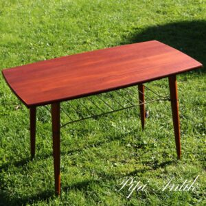 2035 Teak retro sofabord med messing string underhylde L94xD51xH57cm