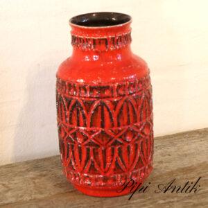 West Germany retro keramikvase postkasserød 92-30 Ø16xH30,5cm