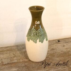 West Germany keramikvase grønlig og natur Ø10xH25cm