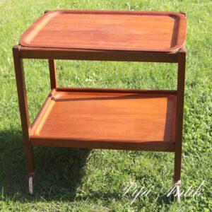 Teak retro bakkebord rullebord med aftagelig top teak bakke på hjul L61x47xH62cm