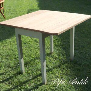 2846 Fyrretræs køkkenbord med 2 klapper gråt stel L95xB53,5xH76 klap 20cm hver