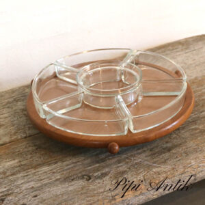 Retro teak glas sildefad rumindelt i hjul Ø27xH8cm