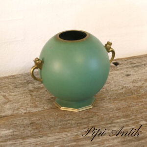 Retro tung metal vase grøn og guld Ø14xH14cm