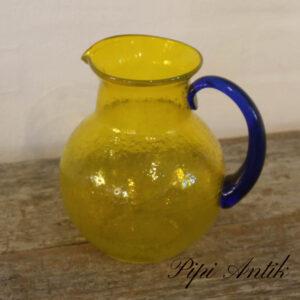Retrolook vandkande i gul og blåt Ø16xH19cm