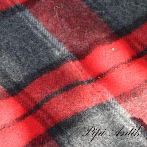 Retro rød gråt uldtæppe B108xL126cm