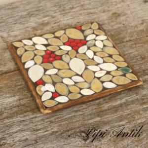 Bordskåner i tre og mosaik blade beige rødt L16xH16cm miniaturebilleder Valgte mediehandlingerIndsæt varebillede