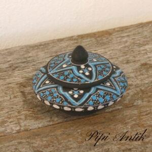 Retro ler smykke krukke i sort lyseblåt SAFI Ø10xH8cm