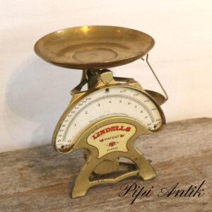 2854 Kobberlook Lindels køkkenvægt med skål Ø21xH25,5cm