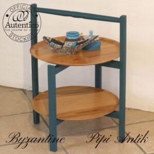 Retro bakkebord i Byzantine Autentico samt natur Ø45xH62cm