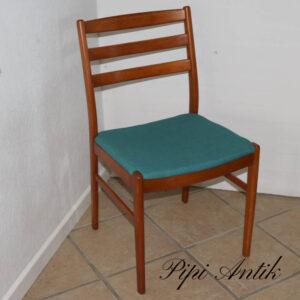 Teak lakeret stol med tyrkis retro stof B46xD44xH82cm sædet 44cm