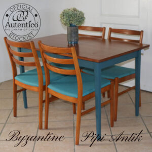 Teak spisebord med Byzantine understel uden tillægsplader B75xL120xH73cm