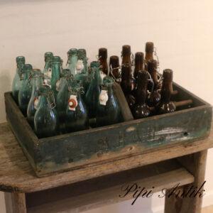Retro patineret øl flaske træ kasse uden flaskerL55,5xB36xH11cm