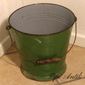 Emaljespand grøn stor Ø29,5xH29cm
